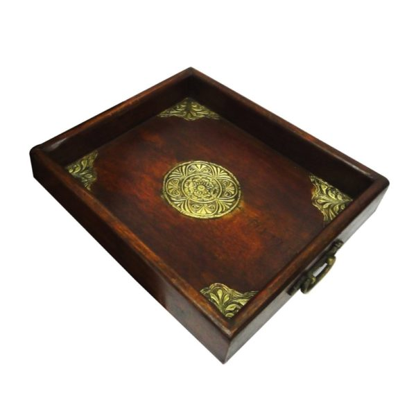 11 Inches Wooden & Brass Single Tray for Serving Purpose