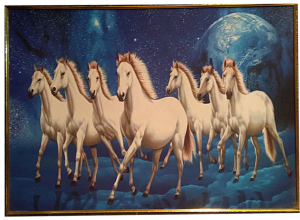 White Running Horses Photo Frame Home Decor Items