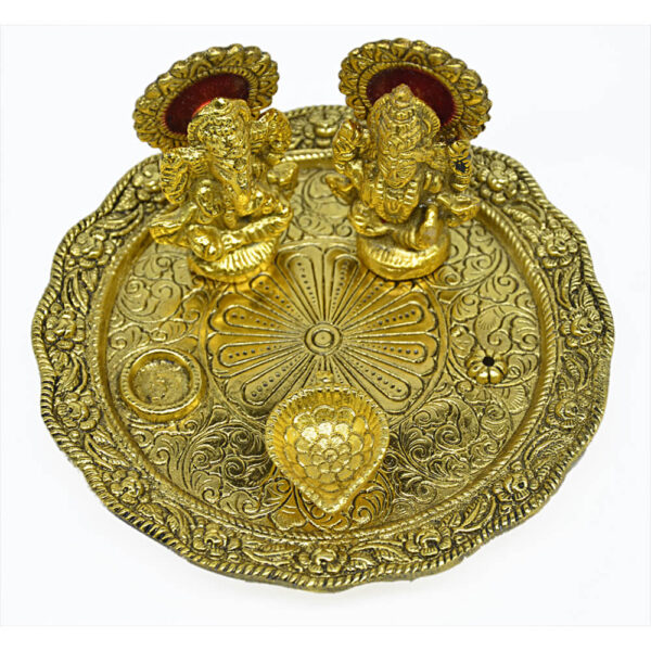 Lakshmi Ganesha arti plate – (14.5 x 14.5)