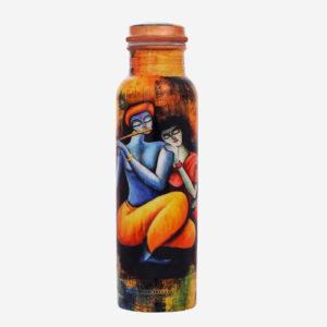 Radha Krishna Design Printed Copper Bottle
