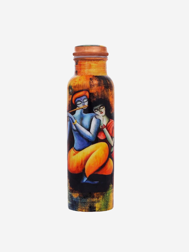Radha Krishna Design Printed Copper Bottle