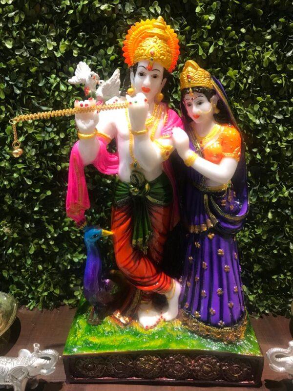 Multicolor Radha Krishna Poly Resin Idol Statue